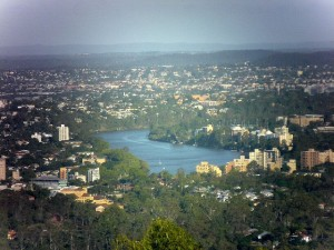 Brisbane River seen from Mt Cootha.
